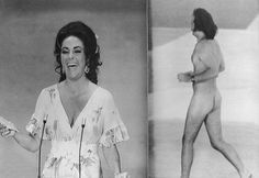 Elizabeth Taylor on stage at the 1974 Oscars shortly after a streaker dashed across the stage