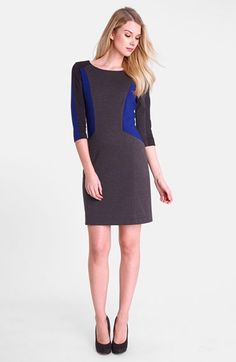 Tahari blue and gray colorblock ponte sheath dress - good idea for colorblock placement