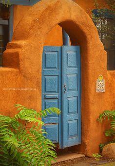 Santa Fe, New Mexico - Adobe & Turquoise Doorway