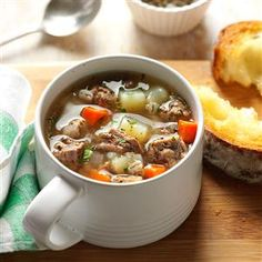 Ground Beef Barley Soup Recipe -I first tasted this soup when a friend served it to our family one day after church. It's now a favorite with our family, especially our three children. —Maggie Norman, Stevensville, Montana