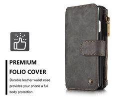 CaseMe 007 iPhone 7 Retro Flannelette Leather Detachable 2 in 1 Multifunctional Wallet Case Black