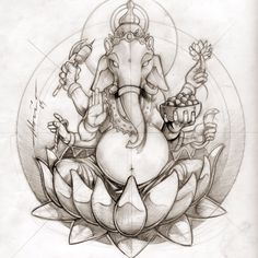 Ganesha Tattoo Drawing, snake doesn't seem accurate though, will have to look into it...