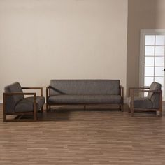 Baxton Studio Valencia Mid-Century Modern Walnut Finish Gravel Fabric Upholstered 3 Piece Living Room Set - BBT8019-GRAVEL-3PC-SET