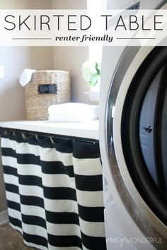 Crazy Wonderful: skirted laundry room table - renter friendly