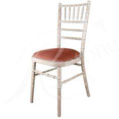 Limewash Chiavari Wedding Chair with Baby Pink Seat Pad