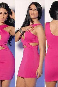 Sexy Hollow Out Pure Color Bandage Dress