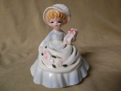 Vintage Ceramic Figurine Hand Painted Girl With Blue Dress  Pink Flowers & Gift