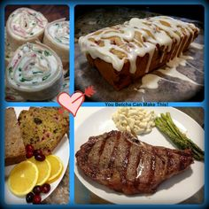 Cream Cheese, Spinach, Bacon and Scallion Pinwheels - Glazed Strawberry Bread - Cranberry Walnut Bread, Grilled New York Strip Steak with Macaroni Salad and Parmesan Roasted Asparagus. Check out youbetchcanmakethis.com