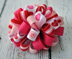 cute valentines hair bow with ribbons