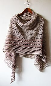 • Hourglass is a big, beautiful triangle-shaped shawl worked from top to down. You will love the original combination of simple crochet stitches and delicate lacy look of this shawl.