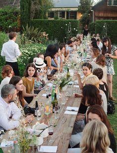 Trestle table reception for a garden party wedding