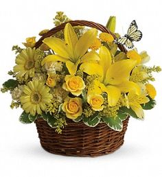 "So pretty and fresh, ""Basket Full of Wishes"" is a delicious combination of yellow florals, perfect for this special time of year. http://www.sansonefloral.com/st-joseph-flowers/basket-full-of-wishes-372699p.asp?rcid=96&point=1"