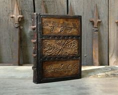 Brown Leather Journal with Copper Decoration, Antiqued Paper, Treasured Moments