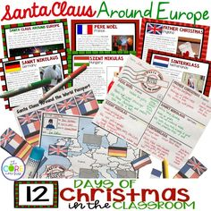 Santa traditions around Europe with student texts, passport stamps, and more!