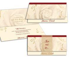 Hcóchzeitseinladungen mit Rose in beige - ein moderner Klassiker