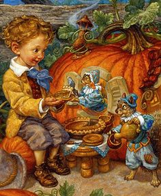 inkspired musings: Nursery Rhymes - Peter Peter Pumpkin Eater by artist, Scott Gustafson Retro Halloween, Halloween Clipart, Happy Halloween, Art And Illustration, Fantasy Kunst, Fantasy Art, Vintage Thanksgiving, Fairytale Art, Nursery Rhymes