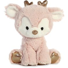 Rose Gold the Glitzy Tot Plush Reindeer by Aurora is fun to look at and fun to play with too. Don't wait until until the last minute to make this rose gold plush sitting reindeer the perfect present for the young one in your life. Deer Stuffed Animal, Stuffed Animal Storage, Cute Stuffed Animals, Stuffed Animal Patterns, Cute Animals, Tatty Teddy, Teddy Bear, Axolotl, Pusheen