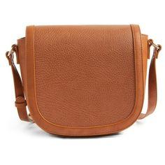 Women's Sole Society Finnigan Faux Leather Crossbody Bag (155 BRL) ❤ liked on Polyvore featuring bags, handbags, shoulder bags, cognac, brown saddle bag, vegan shoulder bags, crossbody shoulder bag, cross-body handbag and vegan handbags