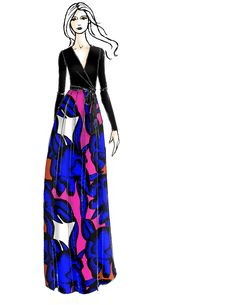 DVF Kailey Silk Combo Wrap Gown