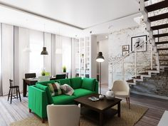 Interior Room Idea With Old Brick Wall And Green Sofa Also Colorful Cushion Added With Small Black Coffee Table And Modern Armchairs