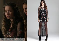 Lola (Anna Popplewell) wears this floral embroidered mesh illusion gown in this week's episode of Reign.