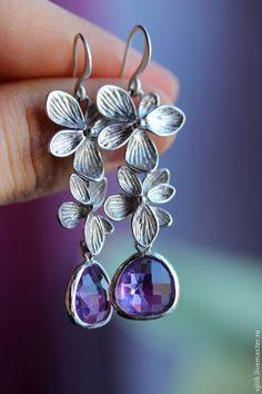 Купить Фиолетовые орхидеи - фиолетовый, орхидеи, цветочные серьги, серьги с цветами, подарок на любой случай