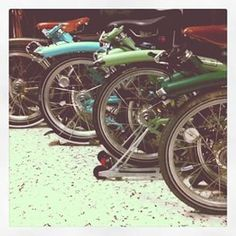 Our Brompton in different shade of green www.RideOrWrongShop.com #brompton #bicycle #rideorwrongshop