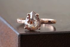 Custom Natural Rose-Cut Red or Champagne Diamond Engagement Ring