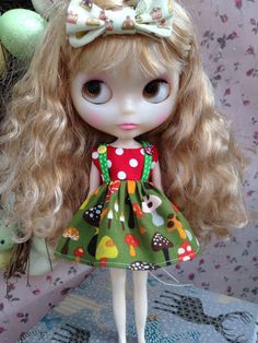 Spotty Shrooms Blythe Party Dress by piparrot on Etsy, $25.00