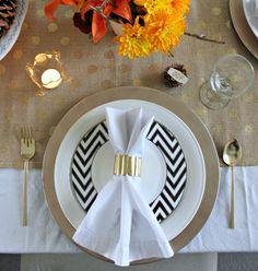 Beautiful Table Setting Ideas--love the black chevron salad plate