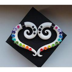 Rainbow fake gauges earrings, white gauges earrings, rainbow octopus,... (29 CAD) ❤ liked on Polyvore featuring jewelry, earrings, artificial jewelry, earrings jewelry, octopus jewelry, fake jewelry and imitation jewellery