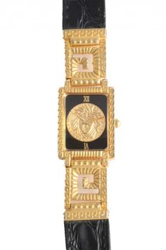 VINTAGE GIANNI VERSACE GOLD AND BLACK MEDUSA WATCH WITH GRECA