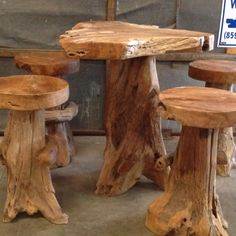 Cool teak root table  for sale at Salvage Building Materials Lexington ky Under $1000 for set | 7M Woodworking loves sharing tips for nature design and decor & rustic interior design alongside unique handmade wooden tables, reclaimed barn beam lightning, and other woodworking projects. Check out www.7mwoodworking.com (312) 545-0331 Teak Table, Wooden Tables, Root Table, Teak Furniture, Accent Furniture, Woodworking Projects Diy, Rustic Interiors, Discount Furniture, Handmade Wooden