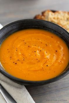 Gluten and Dairy Free Butternut Squash and Carrot Soup