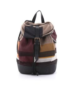 Pre-Owned: Drifton Backpack Color Block House Check Canvas With Leather,  Brown