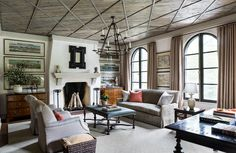 One of the best ways to bring drama or completely transform a space is by creating a design statement to its #ceiling. From wood, to paint, to wallpaper, to coffered ceilings, these 36 spaces will blow you away with innovative ideas that will have you looking up.