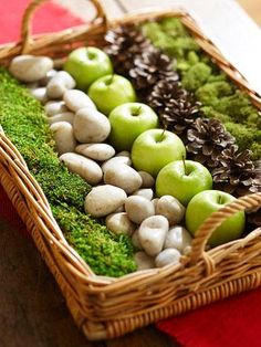 Turn a shallow basket or tray into a fun arrangement for your dining or coffee table. We arranged rows of feathery moss, smooth stones, green apples and spiky pinecones, but use what's easily available to you: other fruits or vegetables, ornaments or bits of nature.                                                                                                                                                                                 Más