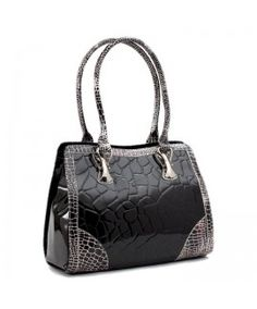 BRAVO Black Leather Handbag at David Appel Furs Beverly Hills