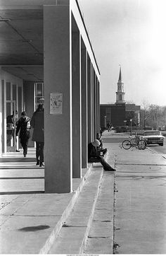 """Ball State University campus near Emens Auditorium"" - To learn more, visit the Kris T. Frederick Photographs in the Ball State University Digital Media Repository. Copyright 2014, Ball State University. All rights reserved."