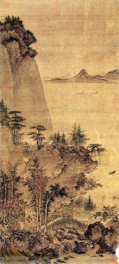 Nathaniel Lehrke- This is a Chinese painting and it shows Visual Art Asian Landscape, Chinese Landscape Painting, Japanese Painting, Landscape Paintings, Landscapes, Asian Artwork, Chinese Drawings, Art Japonais, China Art