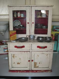 Antique Toy Kitchen Cupboard   Perfect For My Toy Dishes