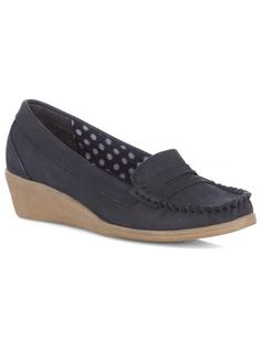 Evans Navy Leather Mocassin Wedge Shoes - View Sale Footwear  - Shoes