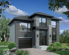 Two story contemporary house plan with brick facade and large windows Brick Facade, Facade House, House Front Design, Modern House Design, Contemporary Style Homes, Small Contemporary House Plans, Contemporary Design, Two Storey House, Sims House
