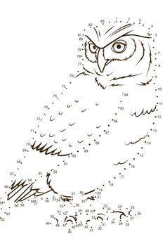 Cijferkleurplaat uil Dots Game, Owl Coloring Pages, Cool Kids, Homeschool, Harry Potter, Workshop, Lettering, Bird, Montessori