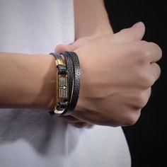 Elegant Three Layers Cross Bible Cowhide Leather Bracelets Mens Handmade High Polished Stainless Steel Man Bangles