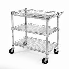 This heavy-duty steel utility cart can handle whatever you pile on, up to 500 pounds, without breaking or sagging. Its constructed of commercial, zinc-plated steel with three adjustable shelves and caster wheels with brake.
