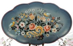 絵皿(ブルーメンロココ) Popular Art, Cute Art, Folk Art, Decorative Plates, Art Deco, Painting, Traditional, Tableware, Decoupage
