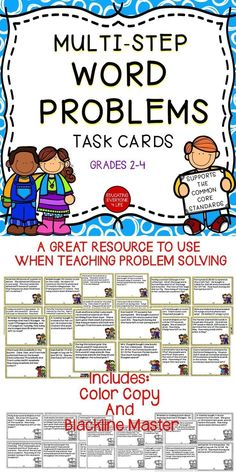 Math Resources - Multi-Step Word Problems Can Be A Challenge For Elementary Students! This math activity pack includes word problems to help students build their problem solving skills. #mathcenters