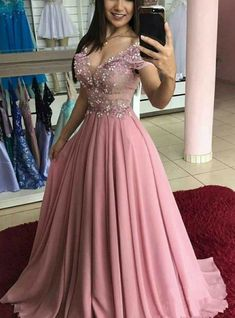 Chic Cap Sleeves V Neck Blush Pink Lace Pearls Long Formal Prom Dresses Evening Dress sold by OKProm. Shop more products from OKProm on Storenvy, the home of independent small businesses all over the world. Gold Prom Dresses, Chiffon Evening Dresses, Prom Dresses For Sale, A Line Prom Dresses, Chiffon Dress, Formal Dresses, Lace Chiffon, Pink Dresses, Bridesmaid Dress