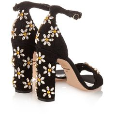 Dolce & Gabbana Daisy crystal-embellished sandals ($1,407) ❤ liked on Polyvore featuring shoes, sandals, heels, floral sandals, floral print shoes, crystal embellished sandals, lace heel sandals and block heel shoes